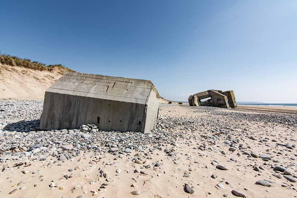 Bunker am Strand in der Normandie