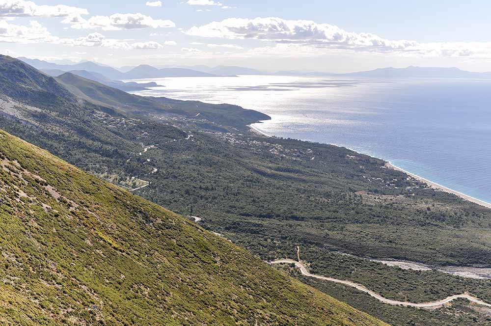 Blick vom Llogara-Pass auf die Albanische Riviera