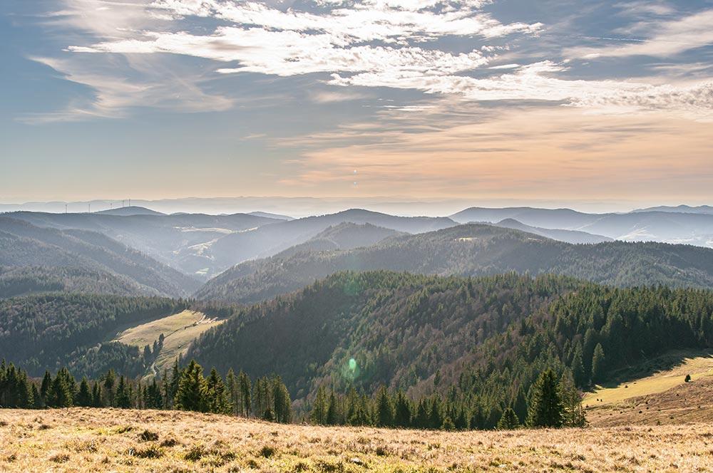 Das Bild zeigt den südlichen Schwarzwald. Der Blick geht dabei vom Gipfel des Herzogenhorns nach Westen.