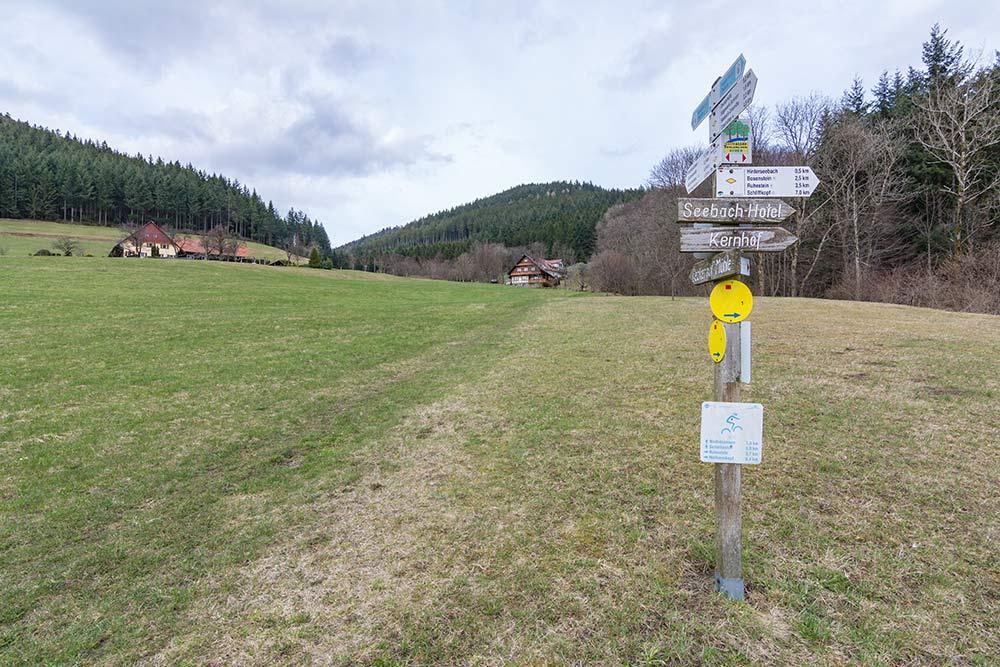 Das Bild zeigt einen Wegweiser im Gebiet der Hornisgrinde bei Seebach.
