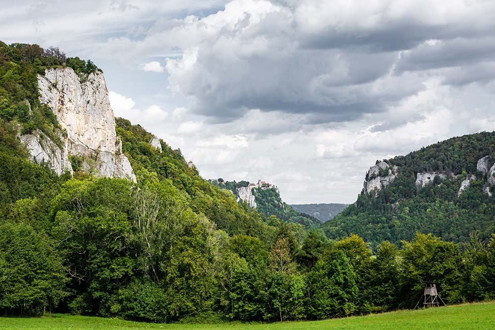 Auf dem Bild siehst du den Weg durchs obere Donautal. In der Bildmitte auf den Felsen steht das Schloss Werenwag. Im Vordergrund leider ein Mördersitz.