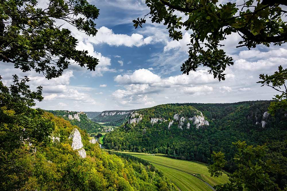 Auf dem Bild siehst du nochmal einen Blick über eine der schönsten Stellen des oberen Donautals. Viele Felsen und das Schloss Werenwag.