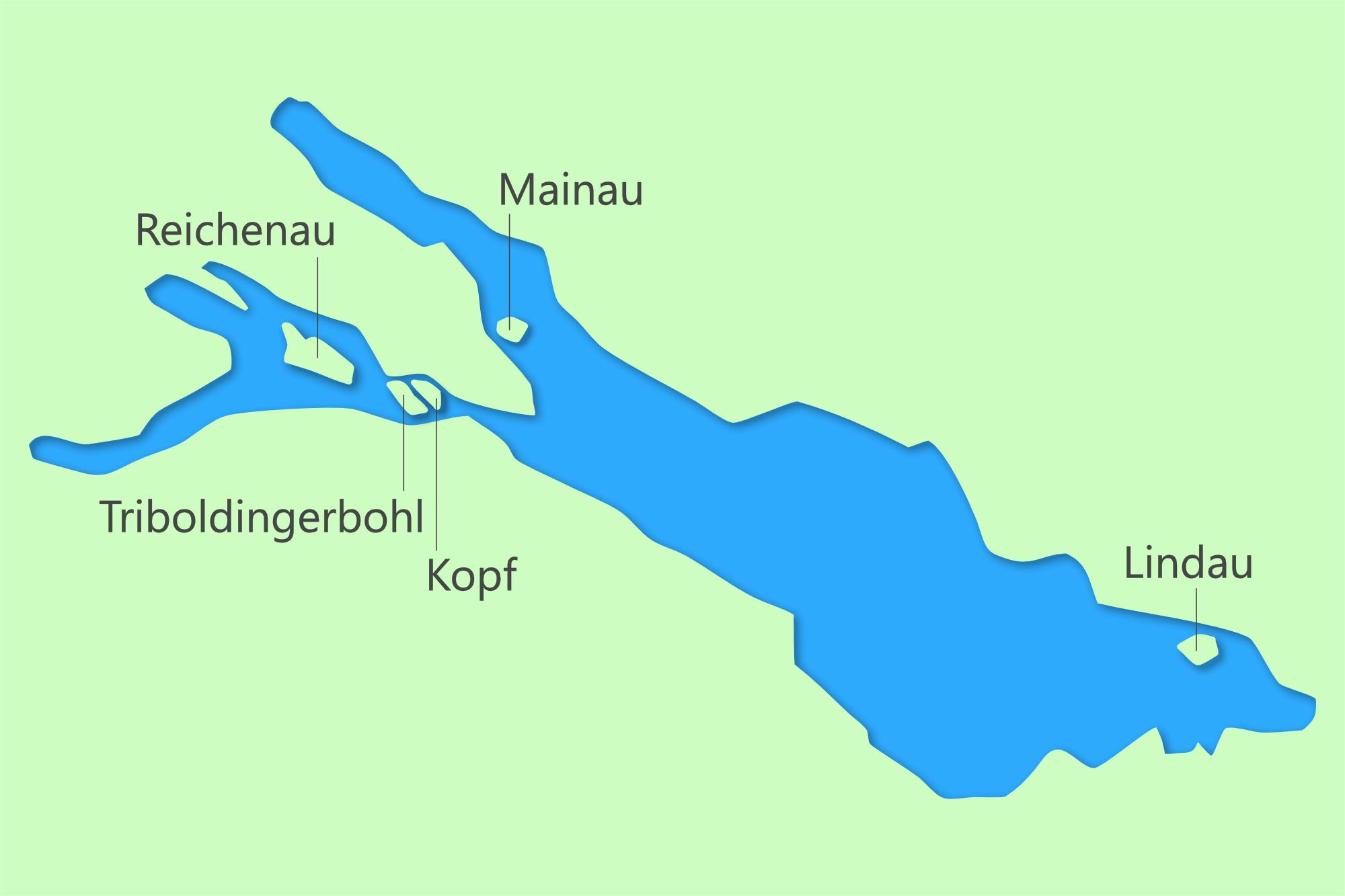 Im Bild: Karte mit den größten Inseln im Bodensee