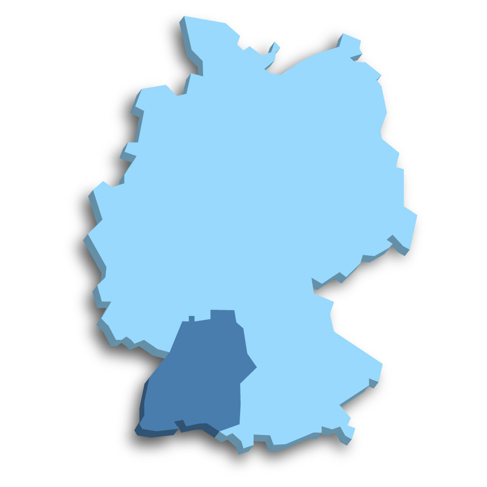 Lage des Bundeslands Baden-Württemberg in Deutschland