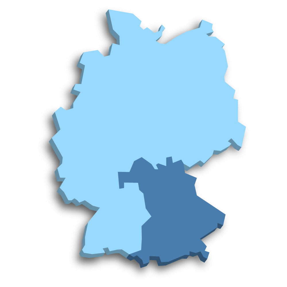 Lage des Bundeslands Bayern in Deutschland