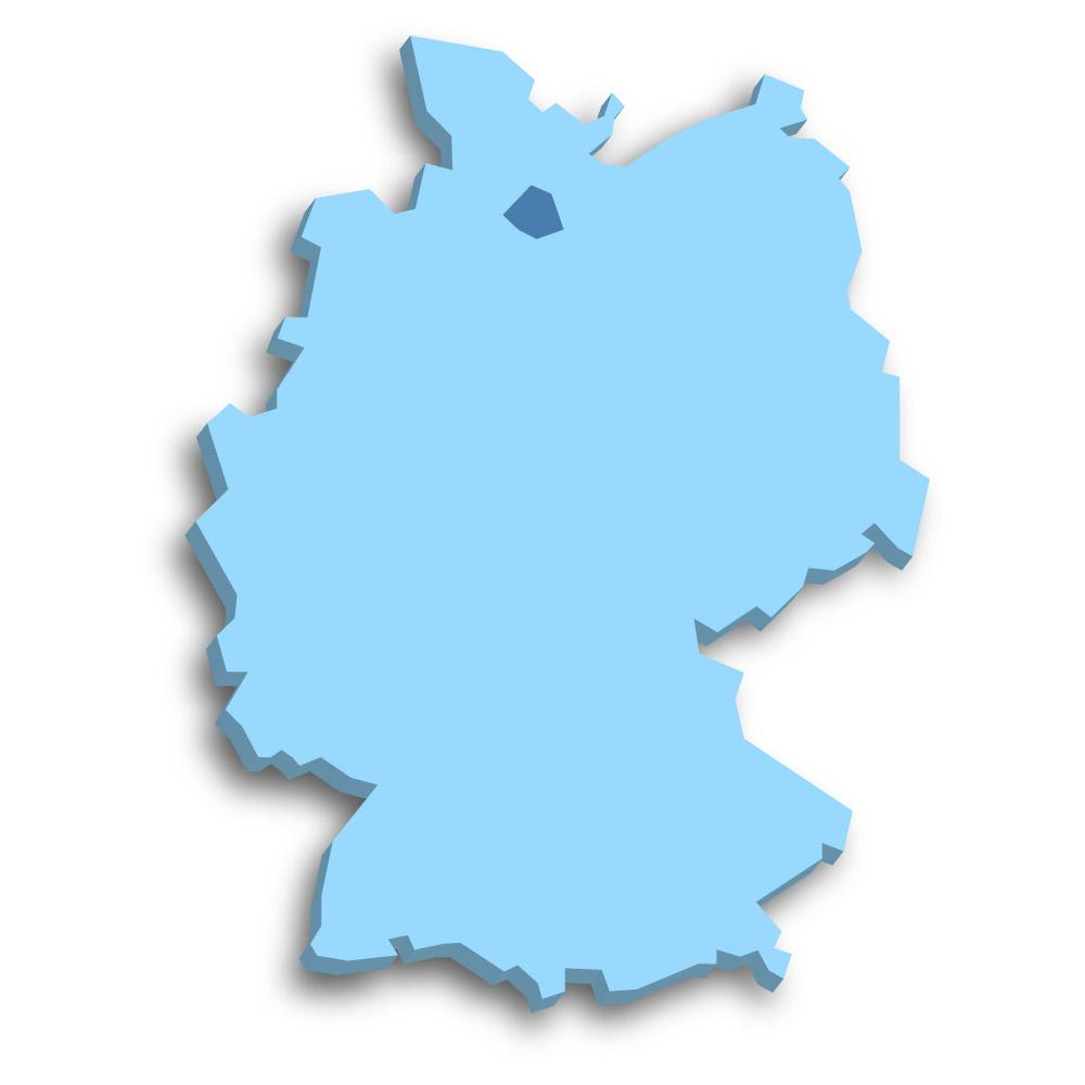 Lage des Bundeslands Hamburg in Deutschland