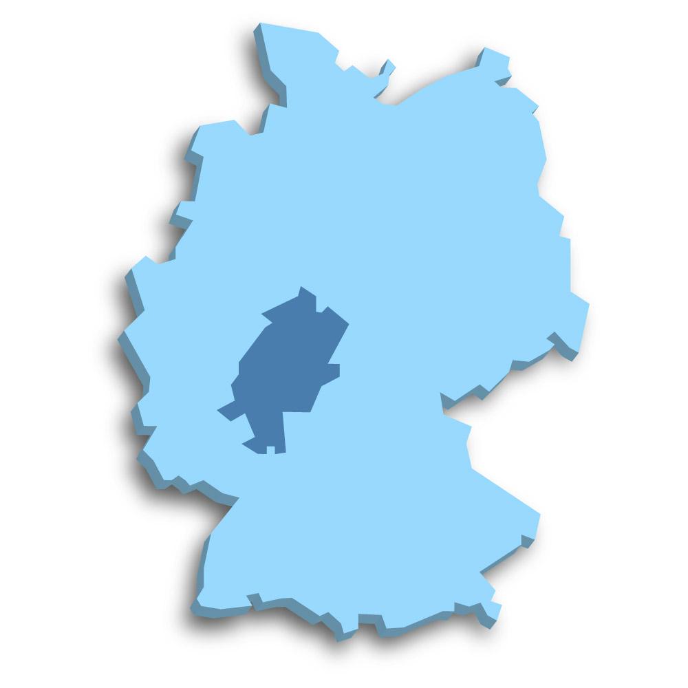Lage des Bundeslands Hessen in Deutschland