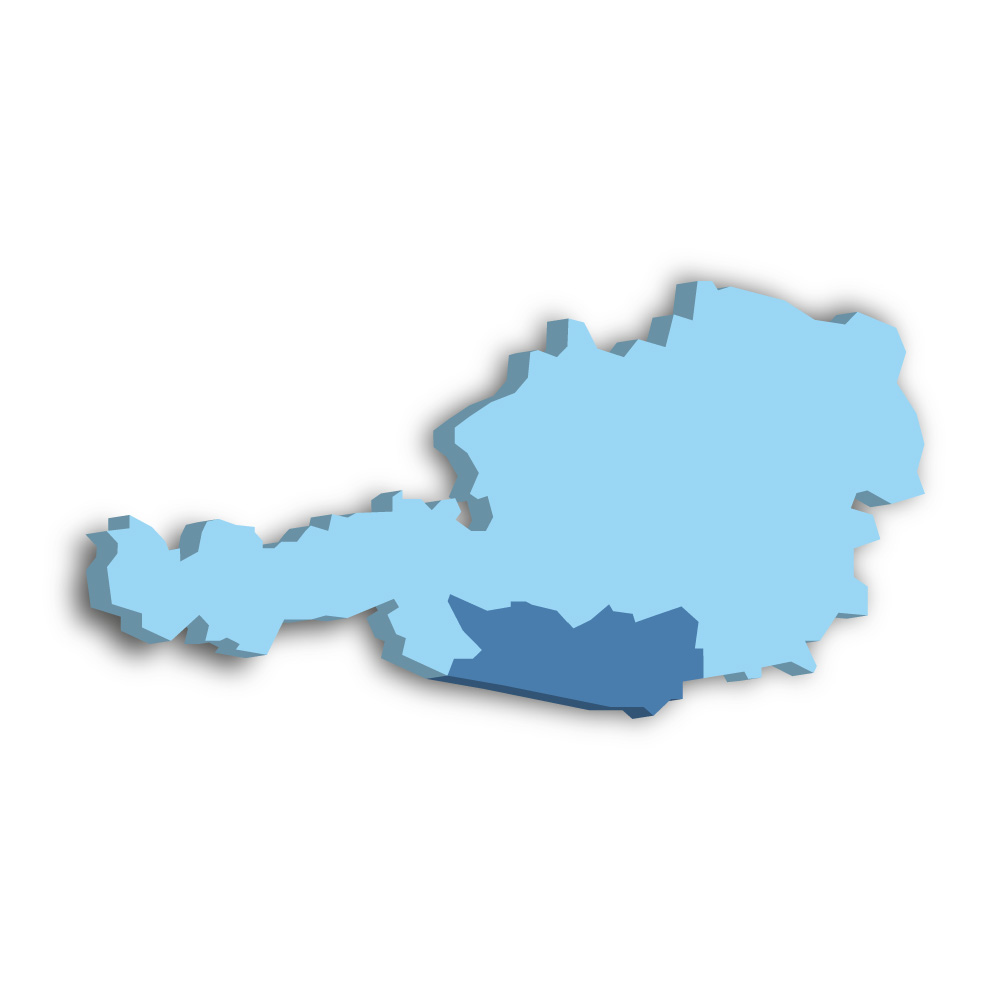 Lage des Bundeslands Kärnten in Österreich