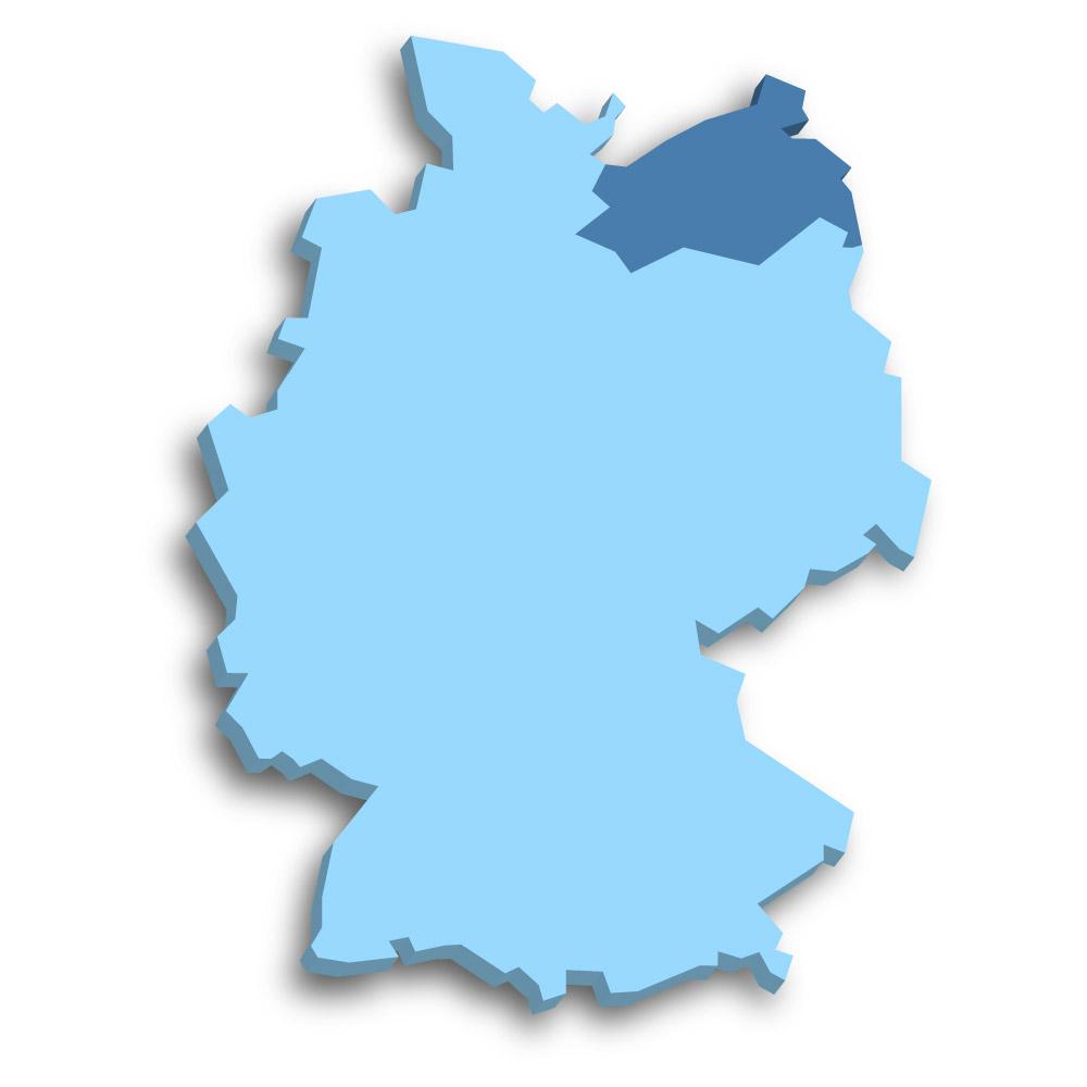 Lage des Bundeslands Mecklenburg-Vorpommern in Deutschland
