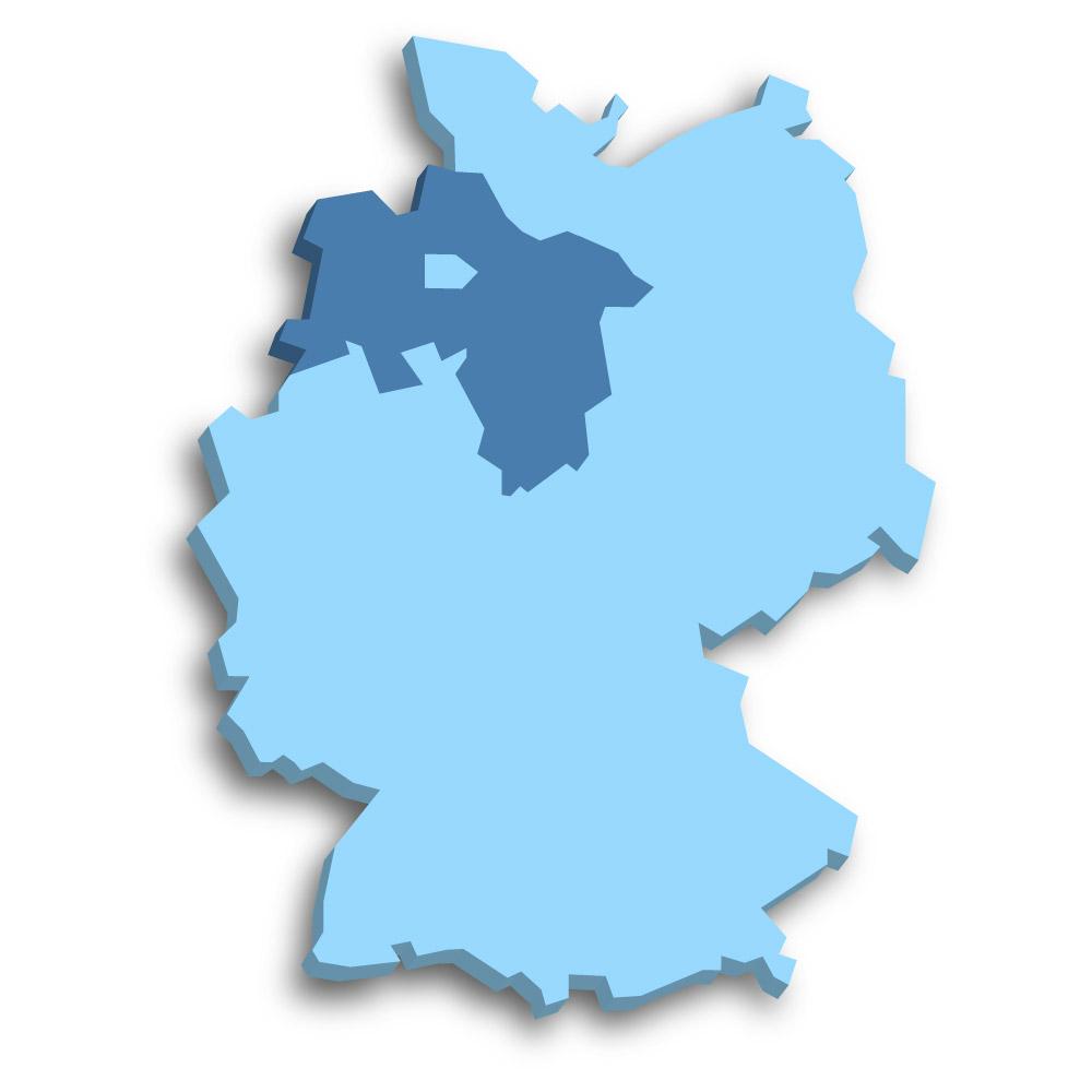 Lage des Bundeslands Niedersachsen in Deutschland
