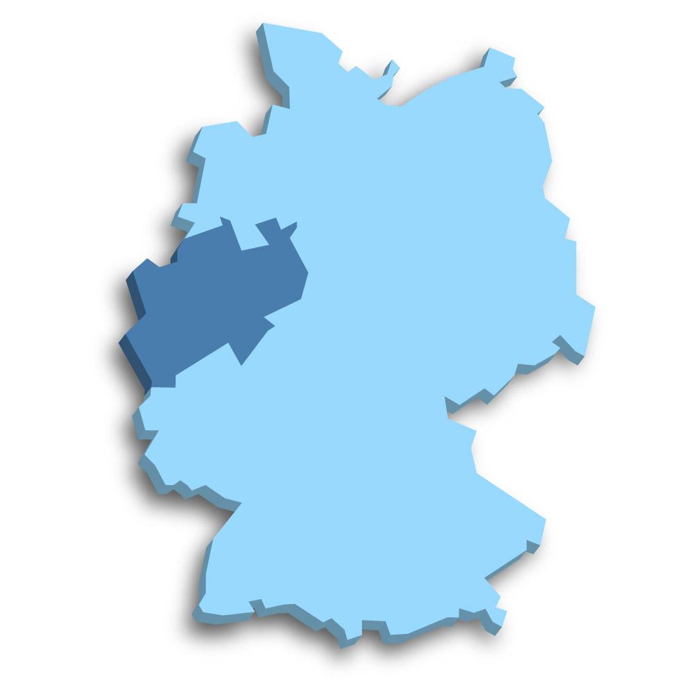 Lage des Bundeslands Nordrhein-Westfalen in Deutschland