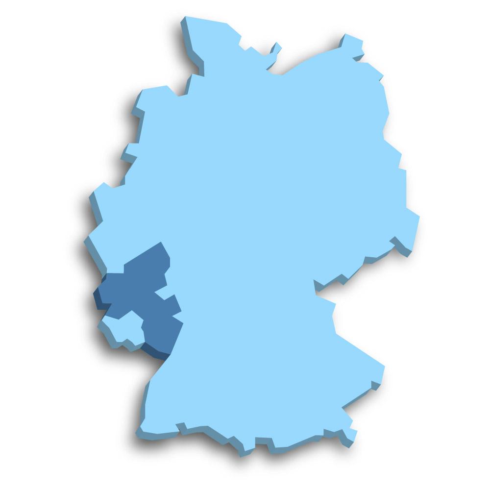 Lage des Bundeslands Rheinland-Pfalz in Deutschland