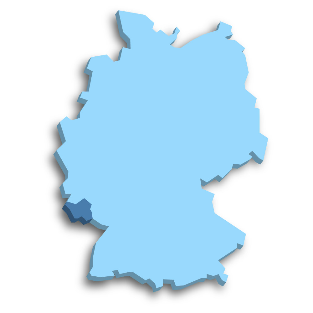 Lage des Bundeslands Saarland in Deutschland