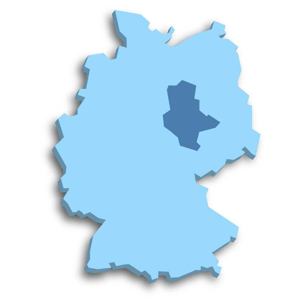 Lage des Bundeslands Sachsen-Anhalt in Deutschland