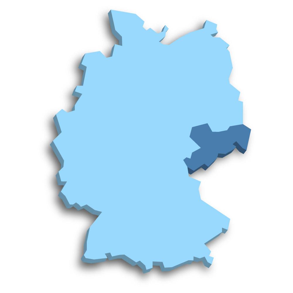 Lage des Bundeslands Sachsen in Deutschland
