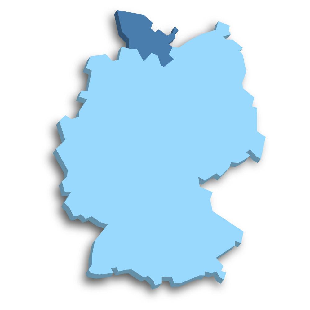 Lage des Bundeslands Schleswig-Holstein in Deutschland