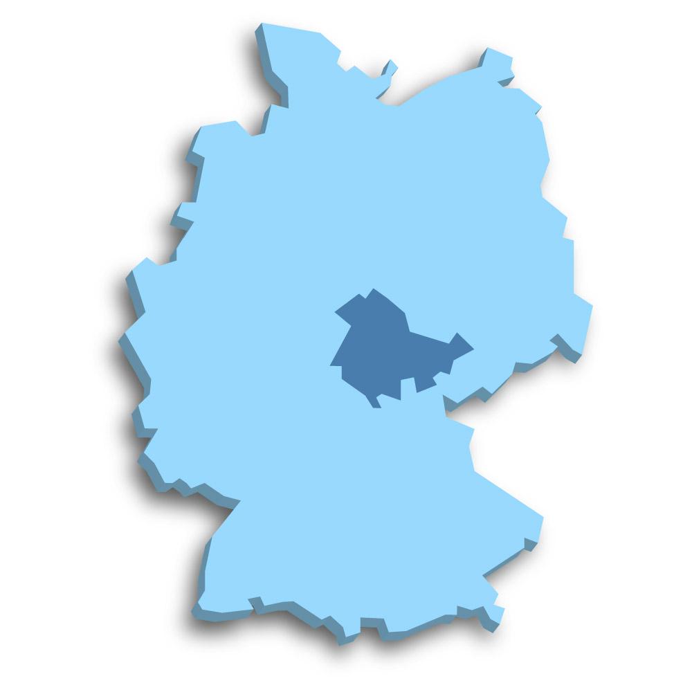 Lage des Bundeslands Thüringen in Deutschland