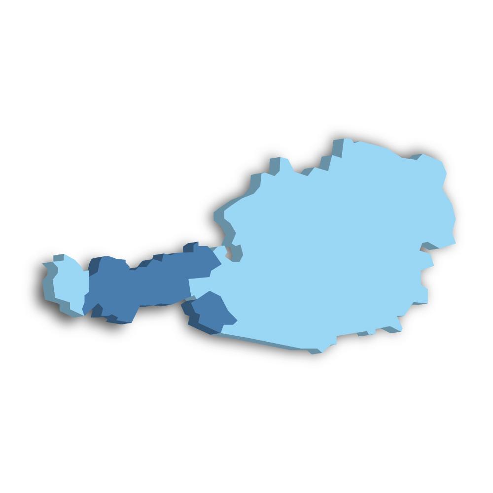 Lage des Bundeslands Tirol in Österreich