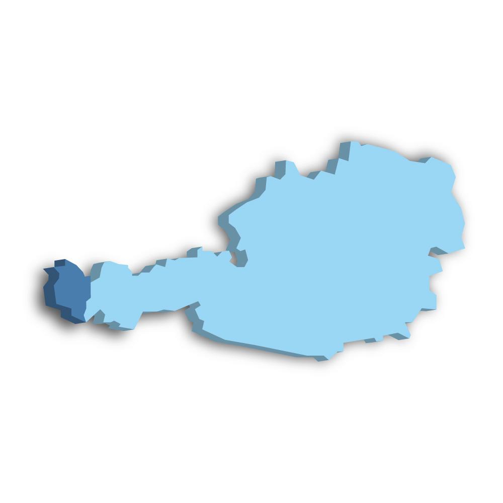 Lage des Bundeslands Vorarlberg in Österreich