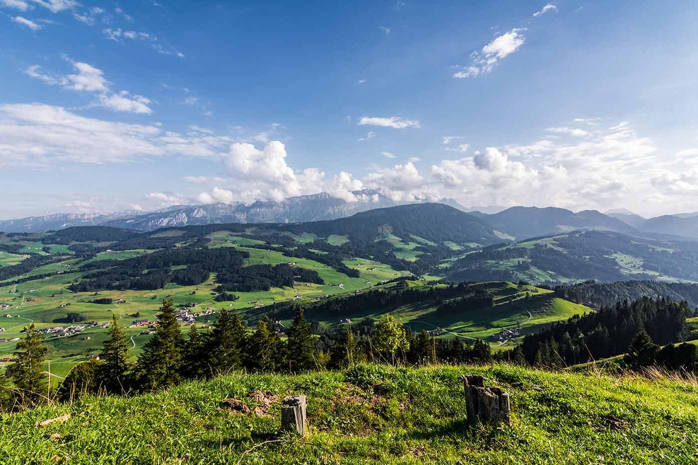 Die Grenze zwischen den Schweizer Kantonen Appenzell Ausserrhoden und Appenzell Innerrhoden auf der Hundwiler Höhi