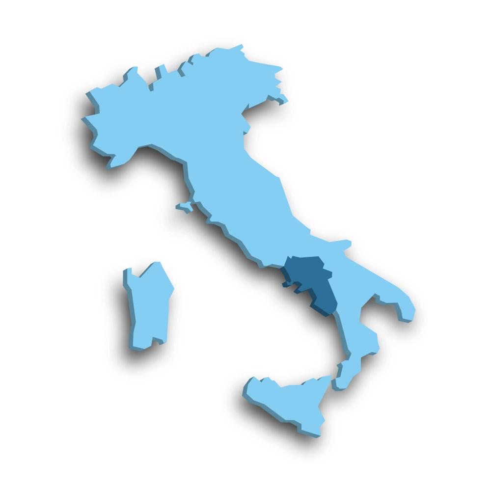 Die Region Kampanien in Italien