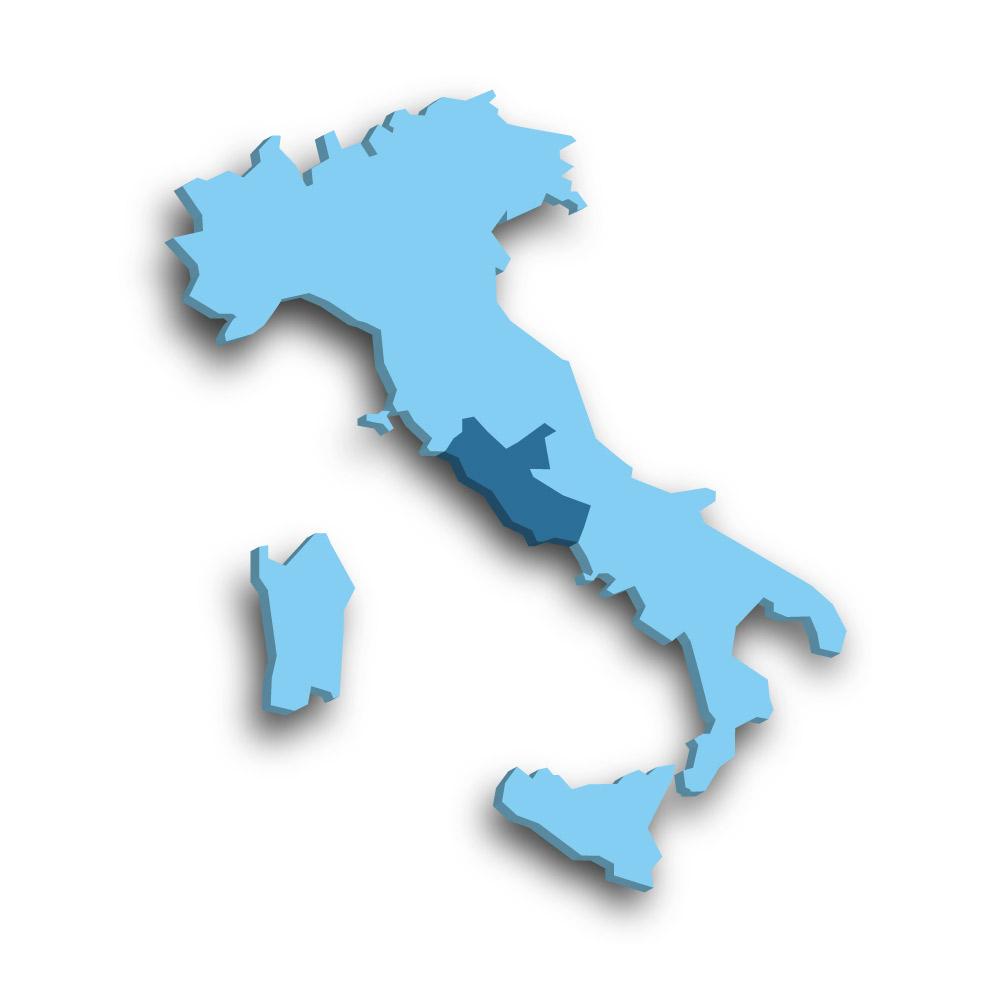 Die Region Latium in Italien