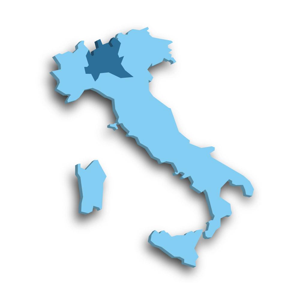 Die Region Lombardei in Italien