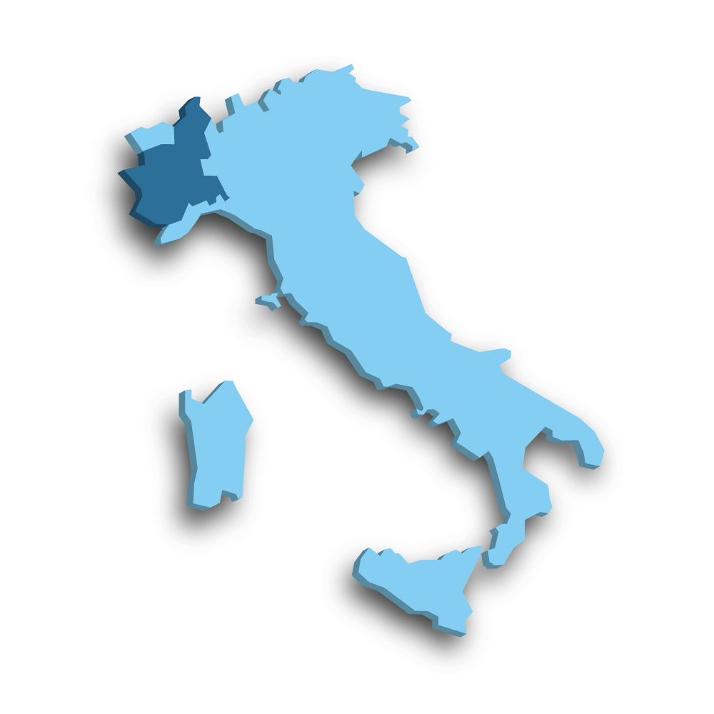 Die Region Piemont in Italien