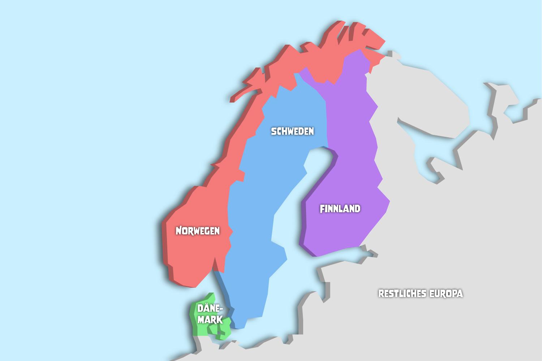 Im Bild siehst du die Länder von Skandinavien