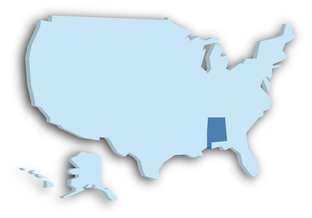 Staat Alabama - Das Bild zeigt die Lage in den USA