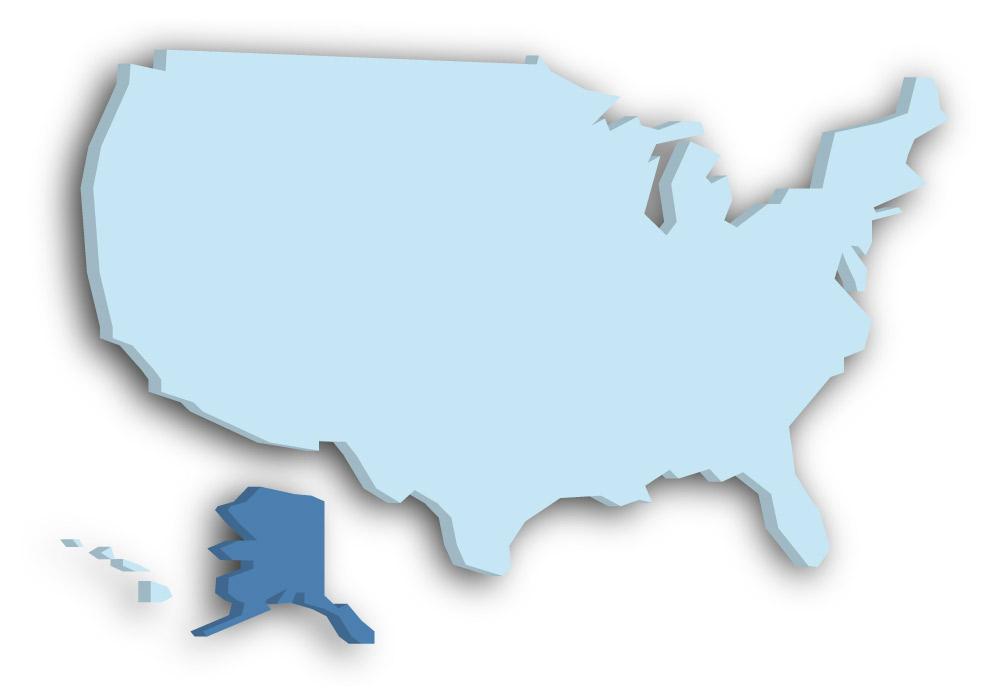 Staat Alaska - Das Bild zeigt die Lage in den USA