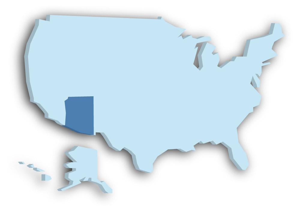 Staat Arizona - Das Bild zeigt die Lage in den USA