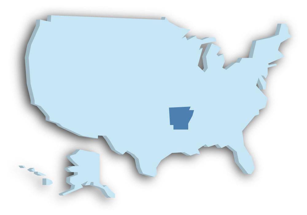 Staat Arkansas - Das Bild zeigt die Lage in den USA