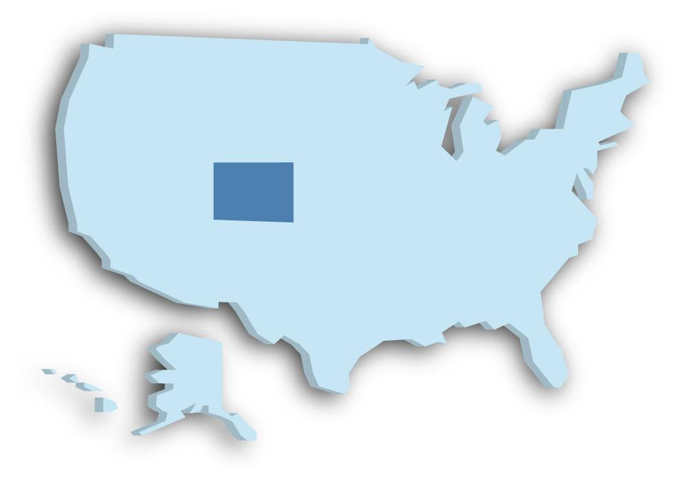 Staat Colorado - Das Bild zeigt die Lage in den USA