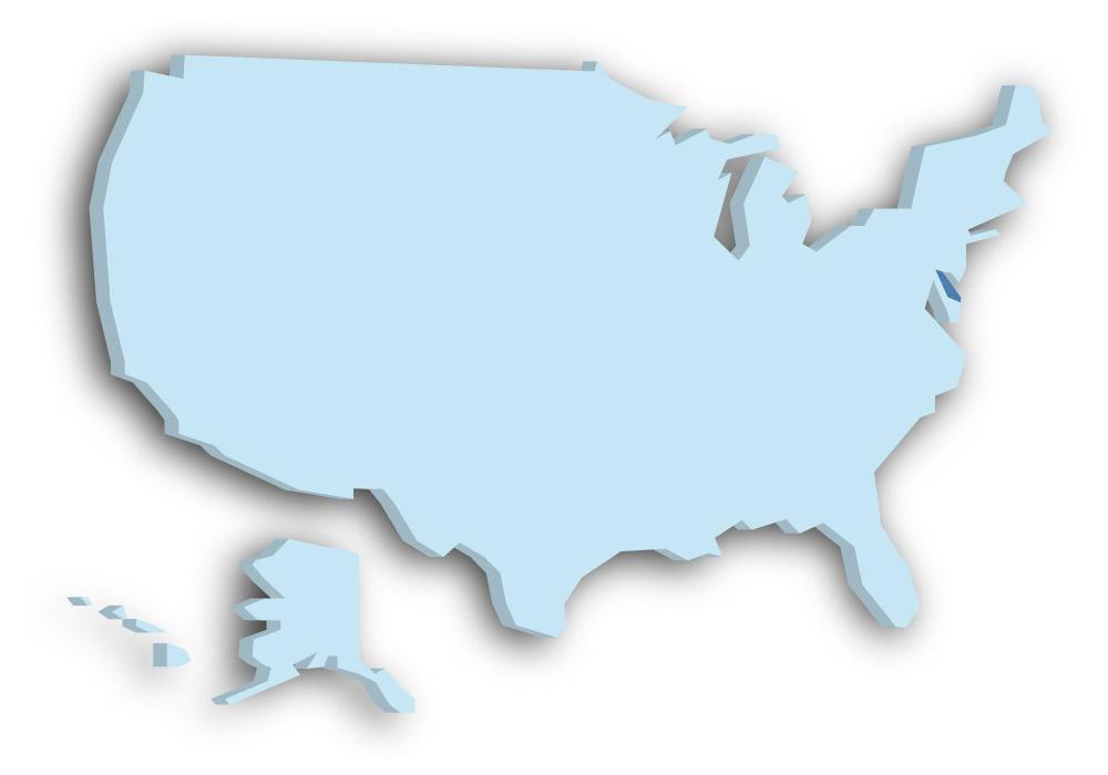 Staat Delaware - Das Bild zeigt die Lage in den USA