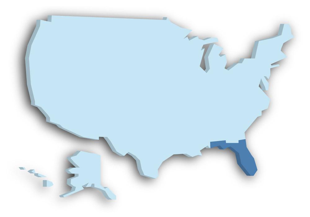 Staat Florida - Das Bild zeigt die Lage in den USA