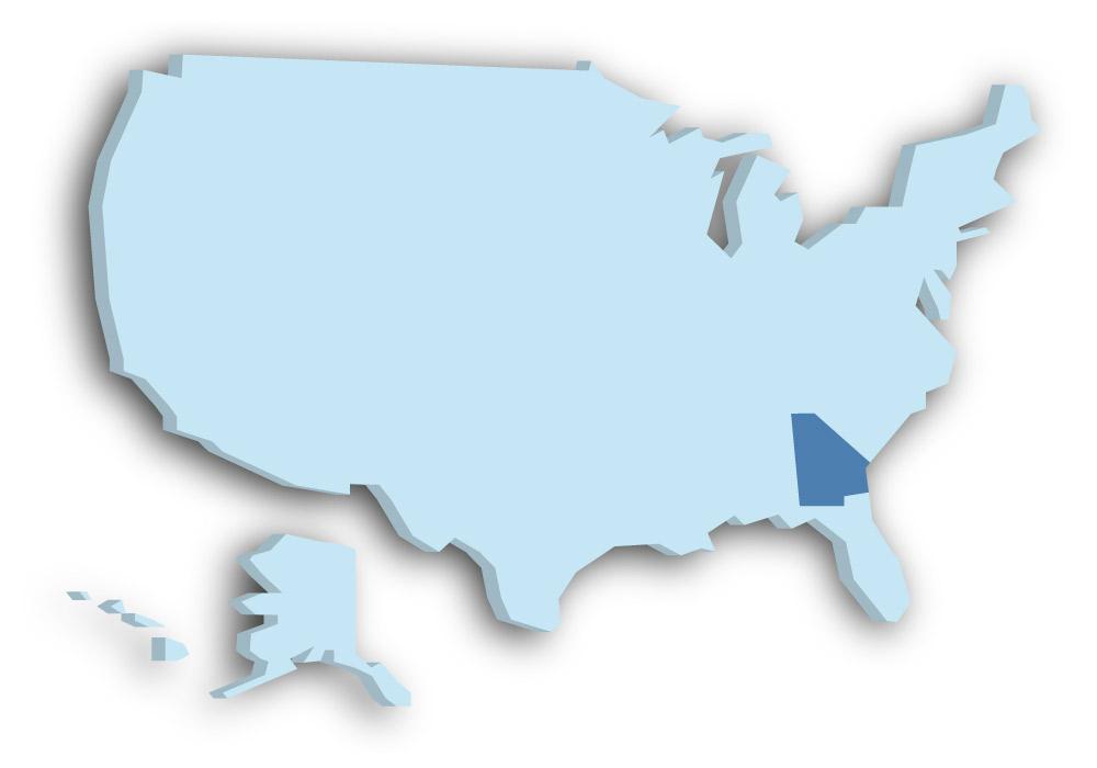Staat Georgia - Das Bild zeigt die Lage in den USA