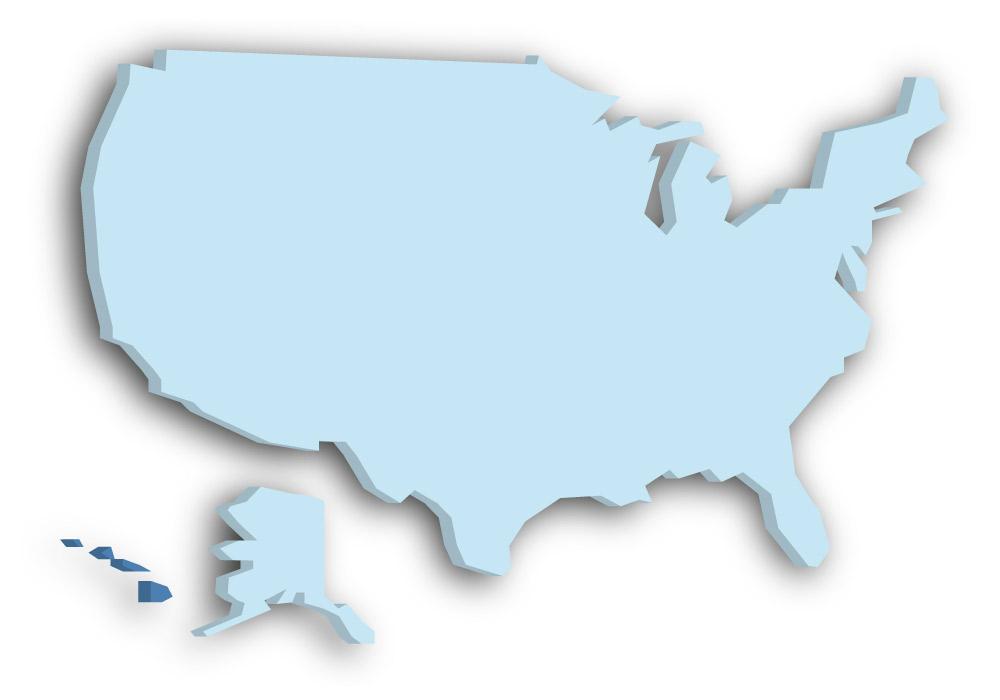 Staat Hawaii - Das Bild zeigt die Lage in den USA