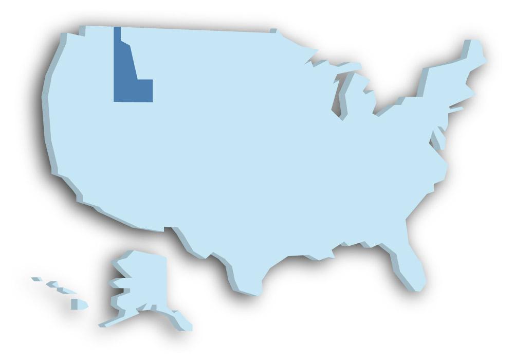 Staat Idaho - Das Bild zeigt die Lage in den USA