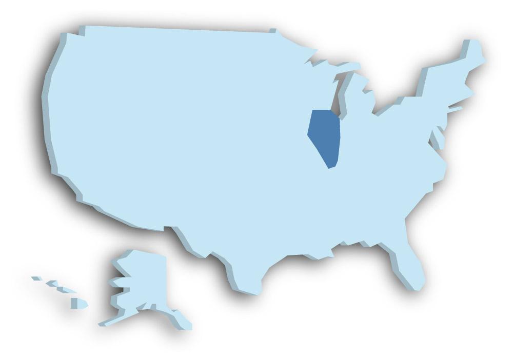 Staat Illinois - Das Bild zeigt die Lage in den USA