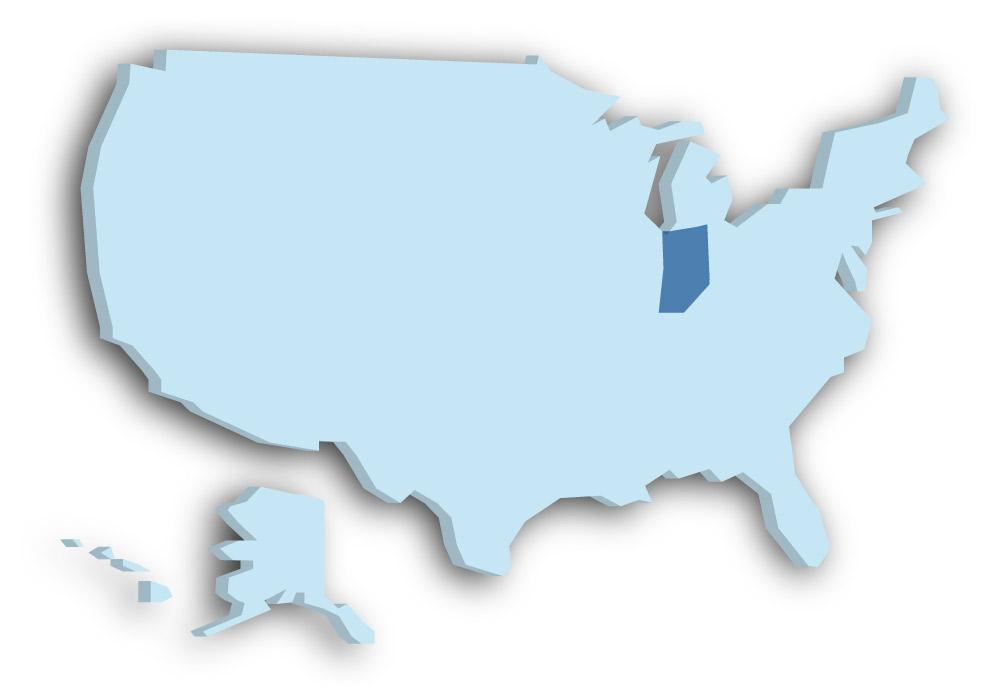 Staat Indiana - Das Bild zeigt die Lage in den USA
