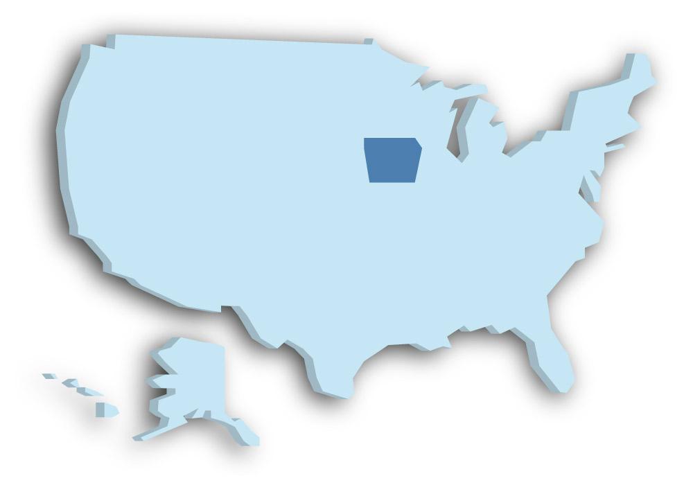 Staat Iowa - Das Bild zeigt die Lage in den USA
