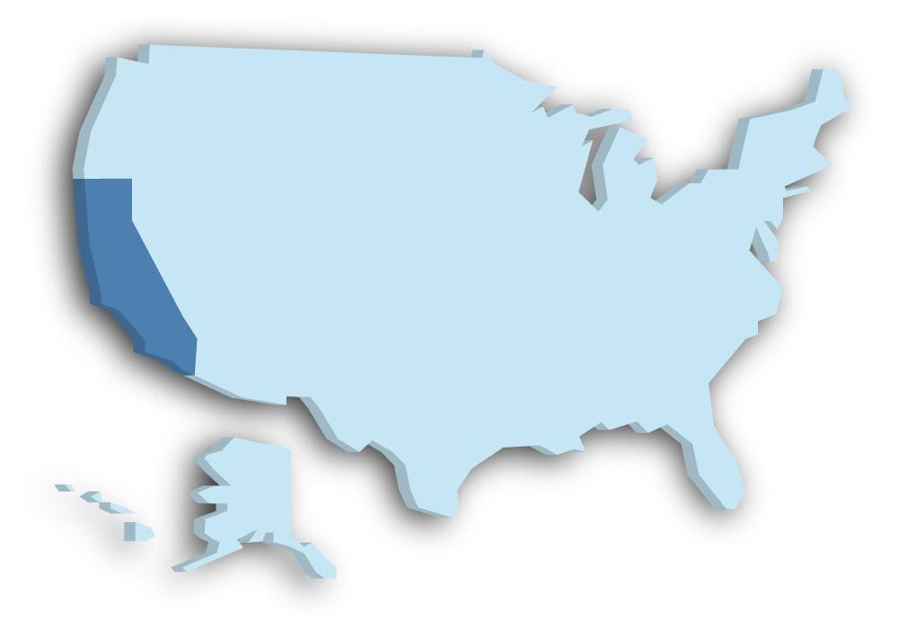 Staat Kalifornien - Das Bild zeigt die Lage in den USA