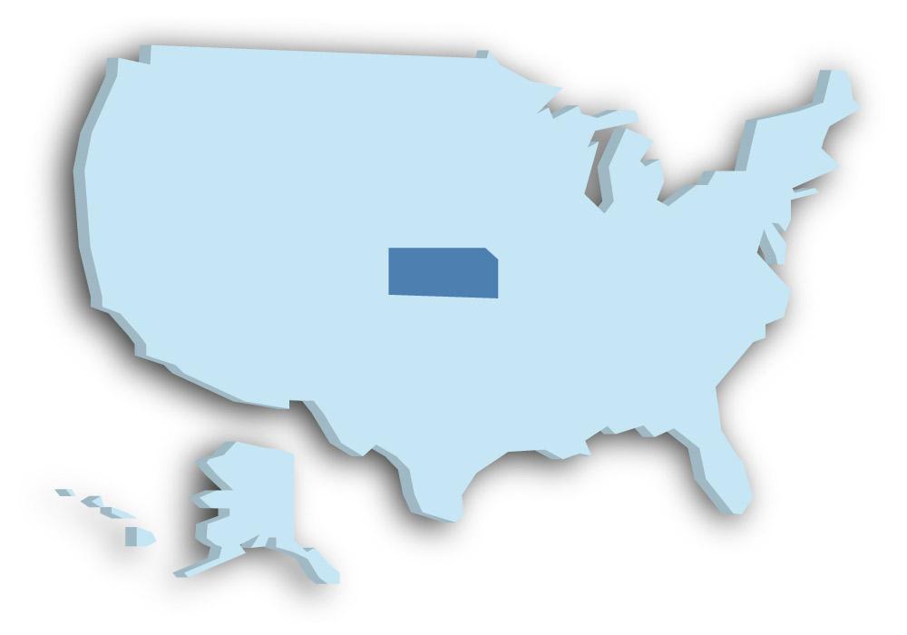 Staat Kansas - Das Bild zeigt die Lage in den USA