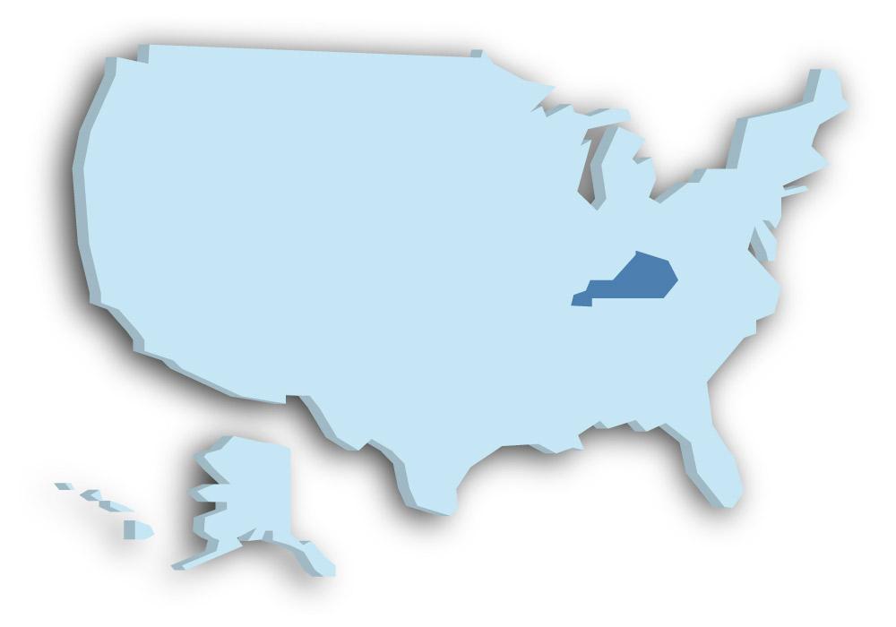 Staat Kentucky - Das Bild zeigt die Lage in den USA