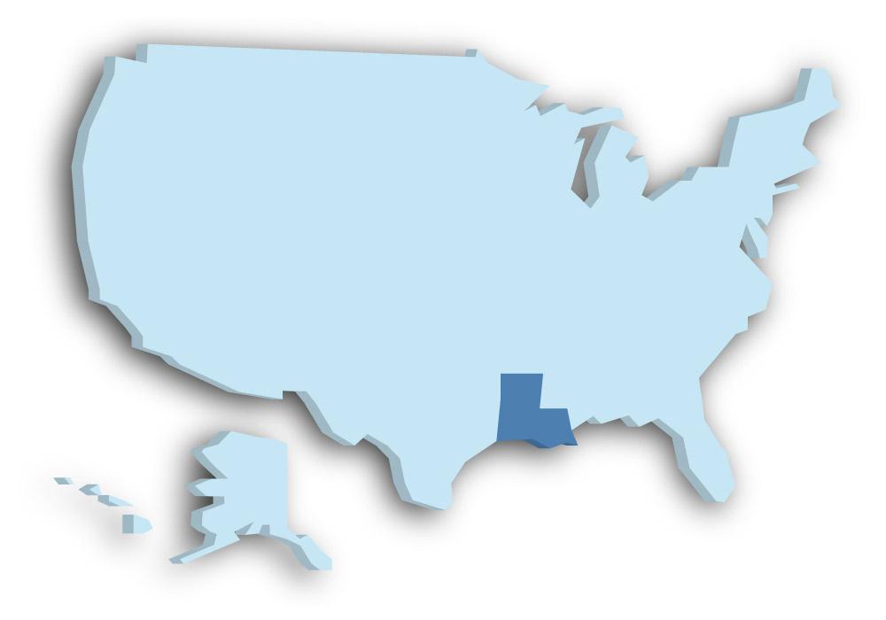 Staat Louisiana - Das Bild zeigt die Lage in den USA