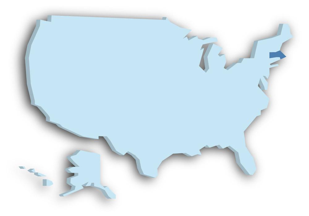 Staat Massachusetts - Das Bild zeigt die Lage in den USA