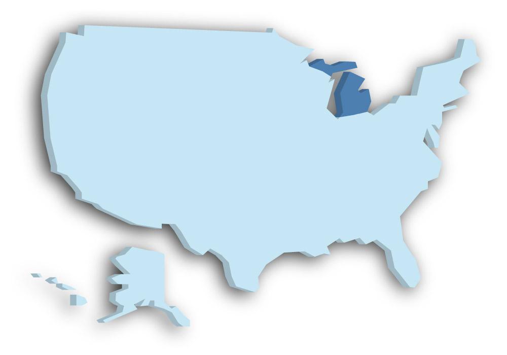 Staat Michigan - Das Bild zeigt die Lage in den USA