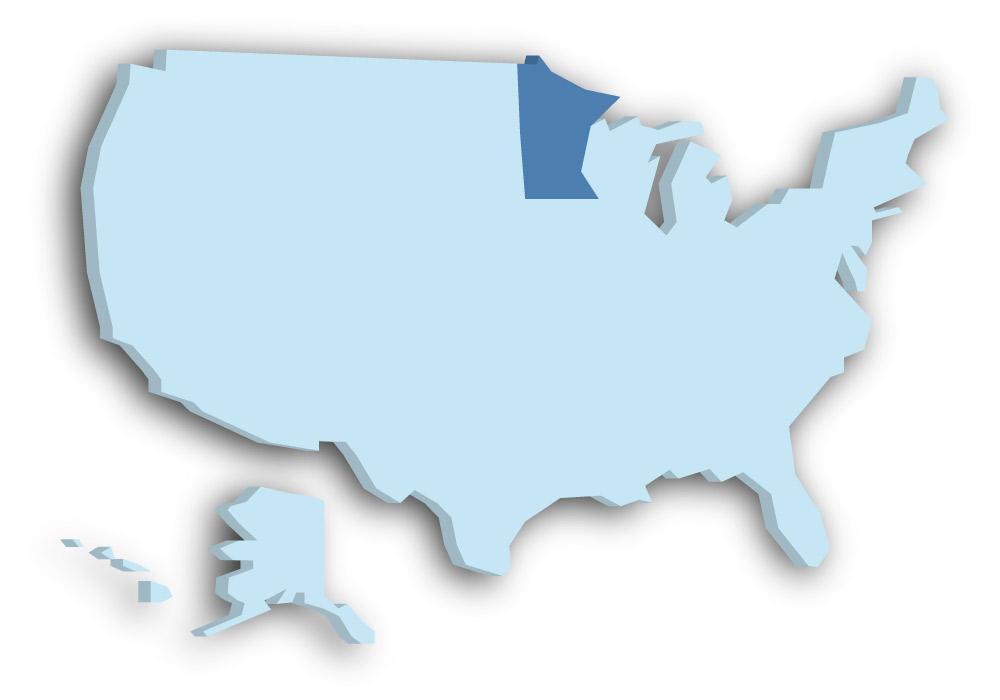 Staat Minnesota - Das Bild zeigt die Lage in den USA