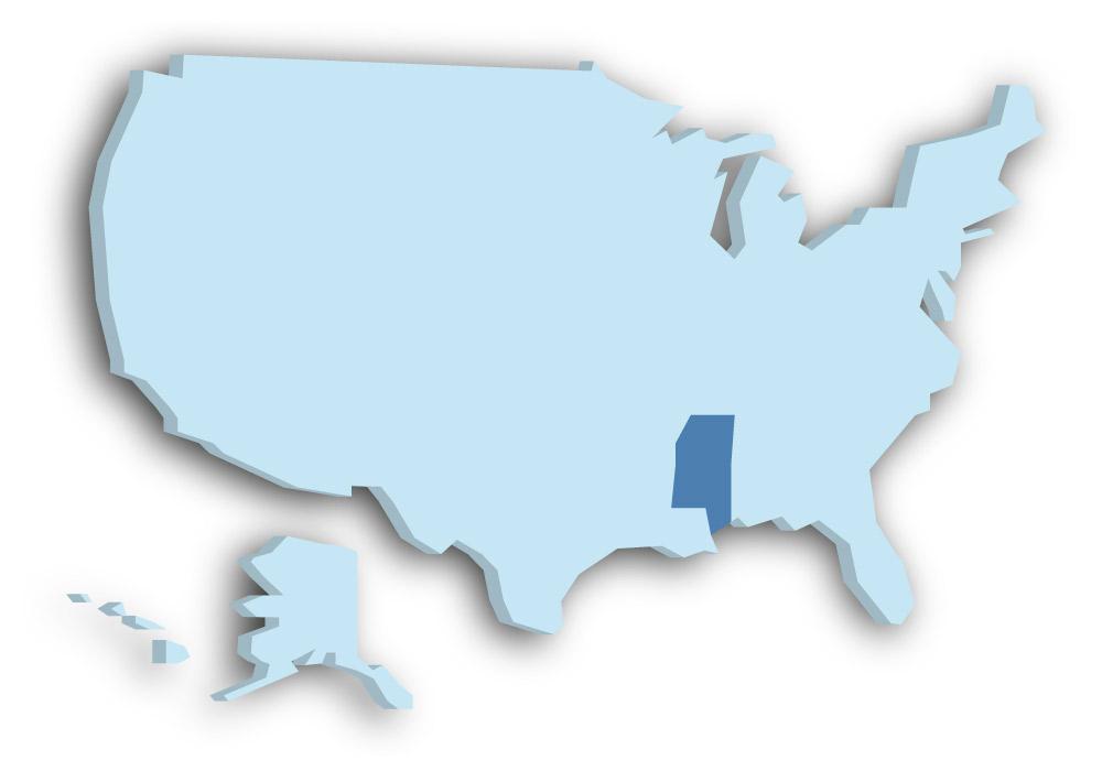 Staat Mississippi - Das Bild zeigt die Lage in den USA